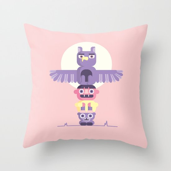 T is for Totem Pole Throw Pillow