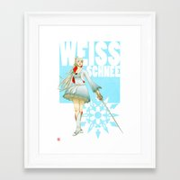 roosterteeth Framed Art Prints featuring RWBY - Weiss Schnee by no_whit