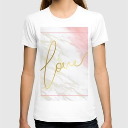 Love | Gold Framed Typography on Pink Water Colour Marble T-shirt