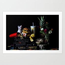 Still Life with Big Mac and Porcelain Cat Art Print