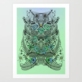 Little Birds and big brother Owl Art Print