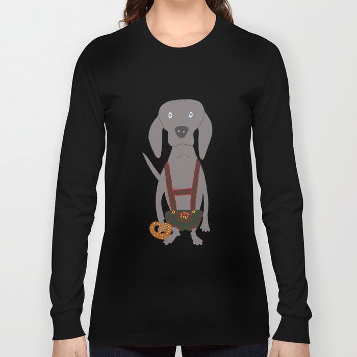 0d5eb37863705 Oktoberfest German Weim Grey Ghost Weimaraner Dog Hand-painted Pet Drawing  Long Sleeve T-shirt by podartist