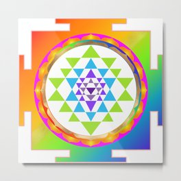 Sri Yantra, Chakra Colors, Faux Gold Accent Metal Print