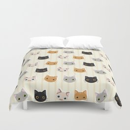 Cute Kitten & Stripes Pattern Duvet Cover
