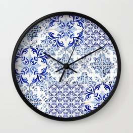 azulejos - Portuguese painted tiles Wall Clock