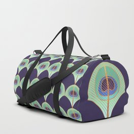 Peacock Feather Art Deco Duffle Bag