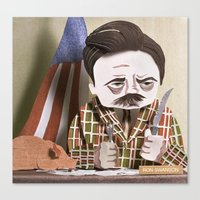 swanson Canvas Prints featuring Ron Swanson by Erin Maala