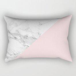 Marble + Pastel Pink Rectangular Pillow