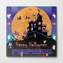 Halloween Haunted House Metal Print