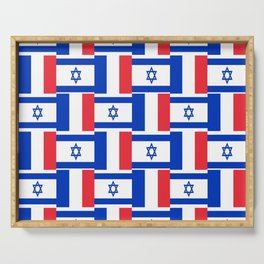 Mix of flag : france and israel Serving Tray