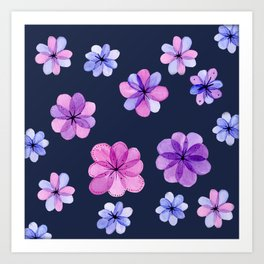 Translucent watercolor flowers with dark background Art Print