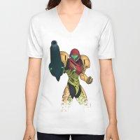 samus V-neck T-shirts featuring Samus by Bradley Bailey