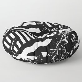 Curvy Contrast - Black and white stripes, waves, marble and paint splats abstract artwork Floor Pillow
