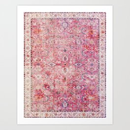N45 - Pink Vintage Traditional Moroccan Boho & Farmhouse Style Artwork. Art Print