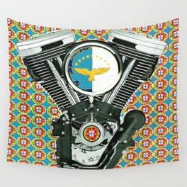Blue Portuguese flag collage Wall Tapestry
