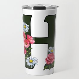 Letter H, Initial H, Monogram, Floral Decorated Letter Travel Mug