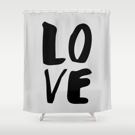Monochrome LOVE black-white hand lettered ink typography poster design home decor wall art Shower Curtain