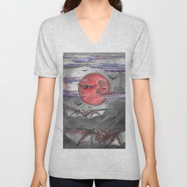 Bat Moon Unisex V-Neck