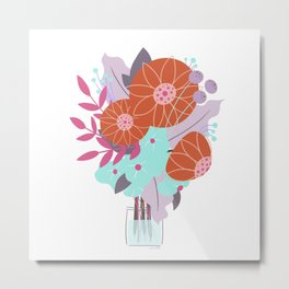 Bright Floral Bouquet Illustration // Stylized Art, Tiny Vase, Red, Turquoise and Lavender Metal Print