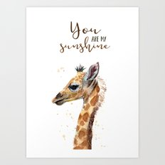 You Are My Sunshine Giraffe Nursery Animals Watercolor Art Art Print