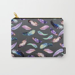 Watercolor Feathers Inky Grey Pattern Carry-All Pouch