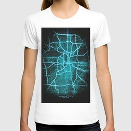 Kansas City, MO, USA, Blue, White, Neon, Glow, City, Map T-shirt