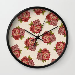 Vintage Rose Bouquet Pattern Wall Clock