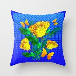 YELLOW BUTTERFLIES, ROSES, & BLUE OPTICAL ART Throw Pillow