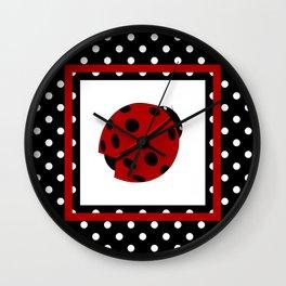 Ladybug And Polkadots Wall Clock