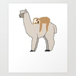 Cute & Funny Sleepy Sloth & Llama Art Print