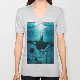 Orcas in Manhattan Unisex V-Neck