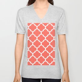 Living Coral Domes with White Unisex V-Neck