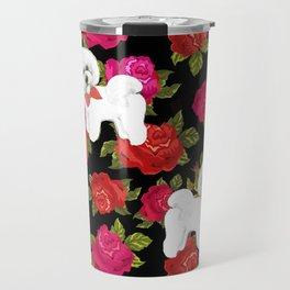 Bichon Frise dogs red rose floral for dog lovers Travel Mug