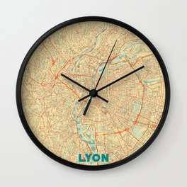 Lyon Map Retro Wall Clock