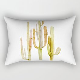 Minimalist Cactus Drawing Watercolor Painting Southwestern Green Cacti Rectangular Pillow