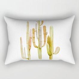 Minimalist Cactus Drawing Watercolor Painting Southwestern Green Cacti Rectangular Pillow