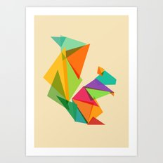 Fractal geometric Squirrel Art Print