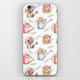 Garden watering cans and flowers. Vintage pattern iPhone Skin