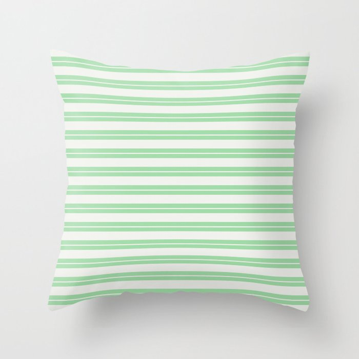 Linen White Line Pattern 1 on Pastel Green Pairs to 2020 Color of the Year Neo Mint Throw Pillow