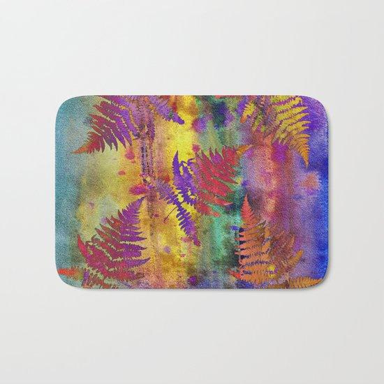 Colorful Fern Leaves QW Bath Mat
