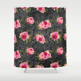 Pink Roses Pattern 09 Shower Curtain