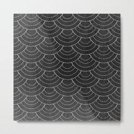 Black sashiko pattern Metal Print