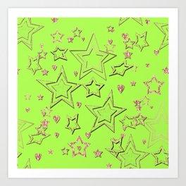 Bright green , neon , stars Art Print