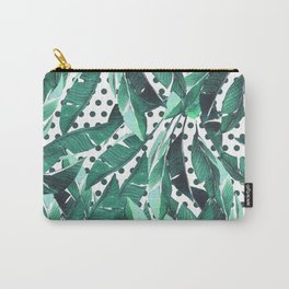 Forest green white polka dots banana tropical leaves Carry-All Pouch