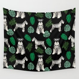 Schnauzer summer monstera tropical pure breed dog gifts Wall Tapestry