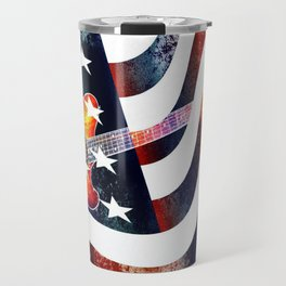 Country Music Guitar And American Flag By Annie Zeno  Travel Mug