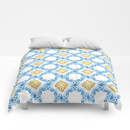 Blue and Golden Crystal Abstract Patterns background Comforters