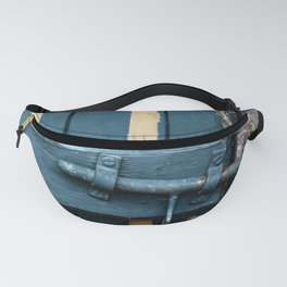 Old blue wooden farm doors Fanny Pack