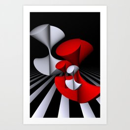 3D in red, white and black -11- Art Print