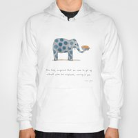 pie Hoodies featuring polka dot elephants serving us pie by Marc Johns